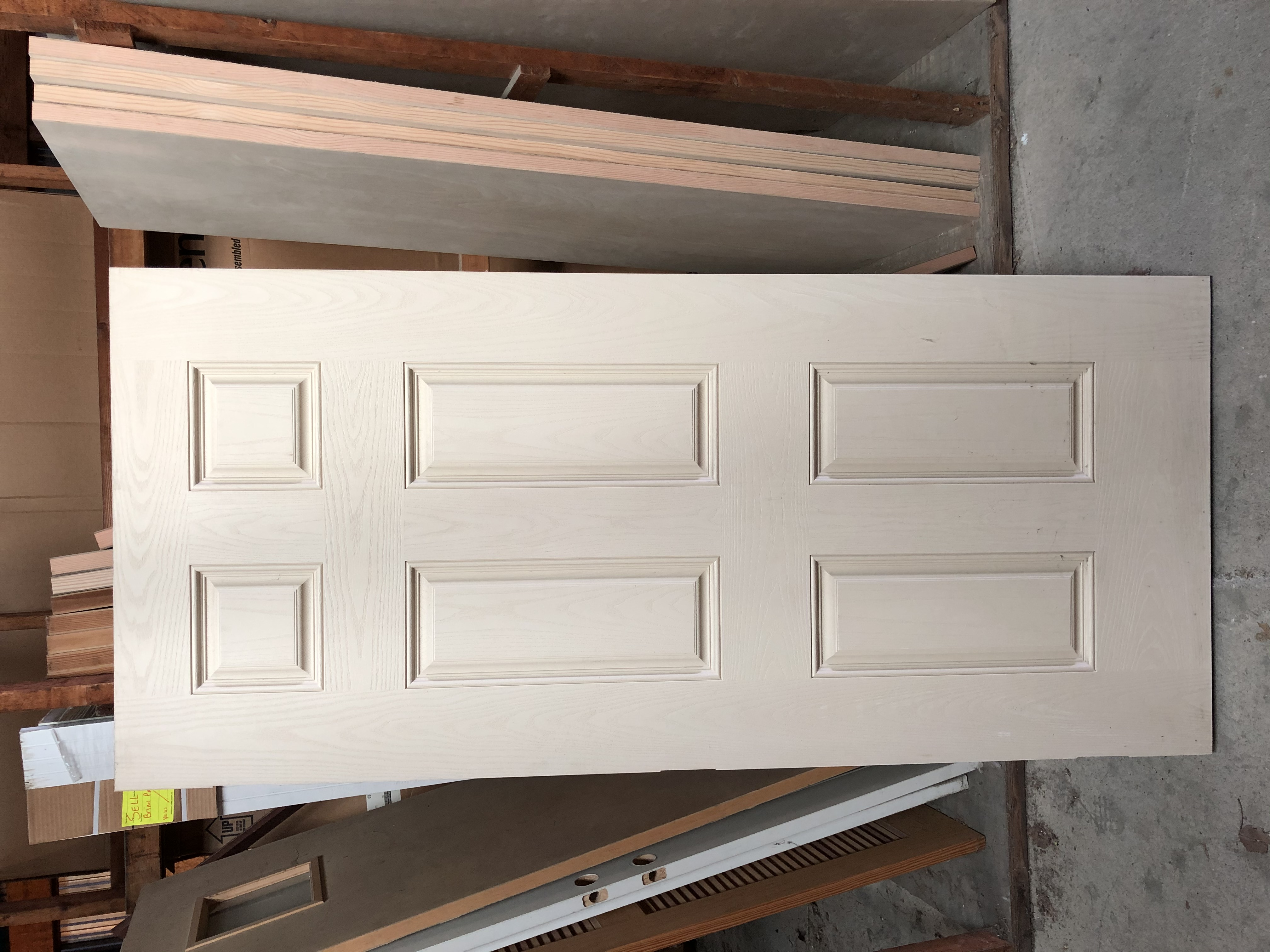 "3'0"" (36"") x 6'8"" (80"") 6 Panel Fiberglass Woodgrain Masonite Door Slab (No Bore) Left Hand Inswing OR Right Hand Outswing"