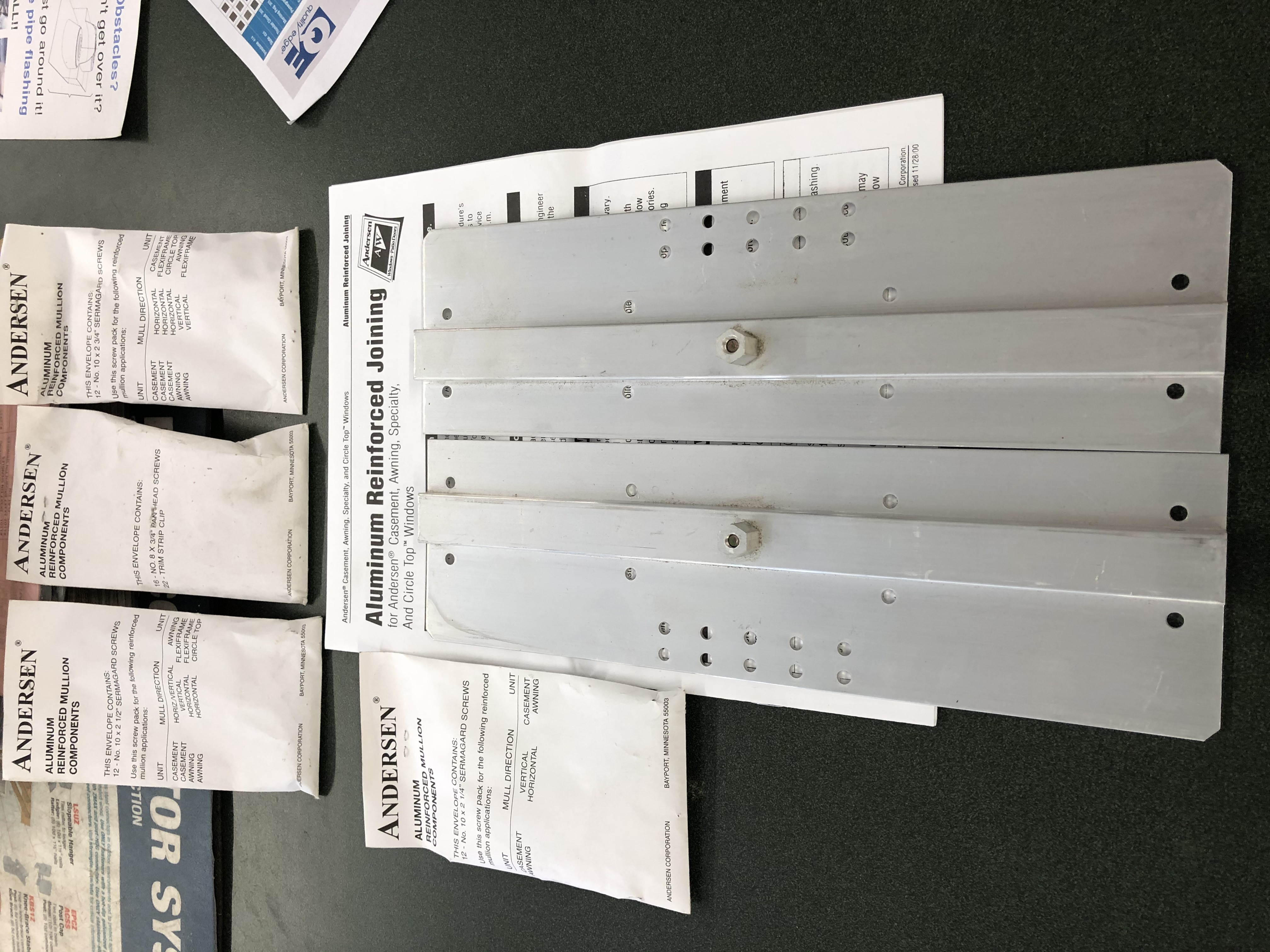 Andersen Aluminum Reinforced Joining End Plate Narrow Mullion Kit Part #2340412