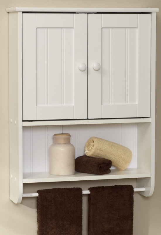 Zenna Home Cottage 9114W Wall Cabinet, 1-Shelf, 2-Door, Wood, White